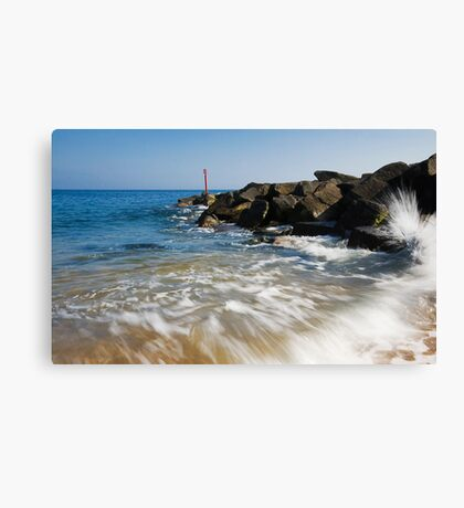 Raging sea West Bay Dorset Canvas Print