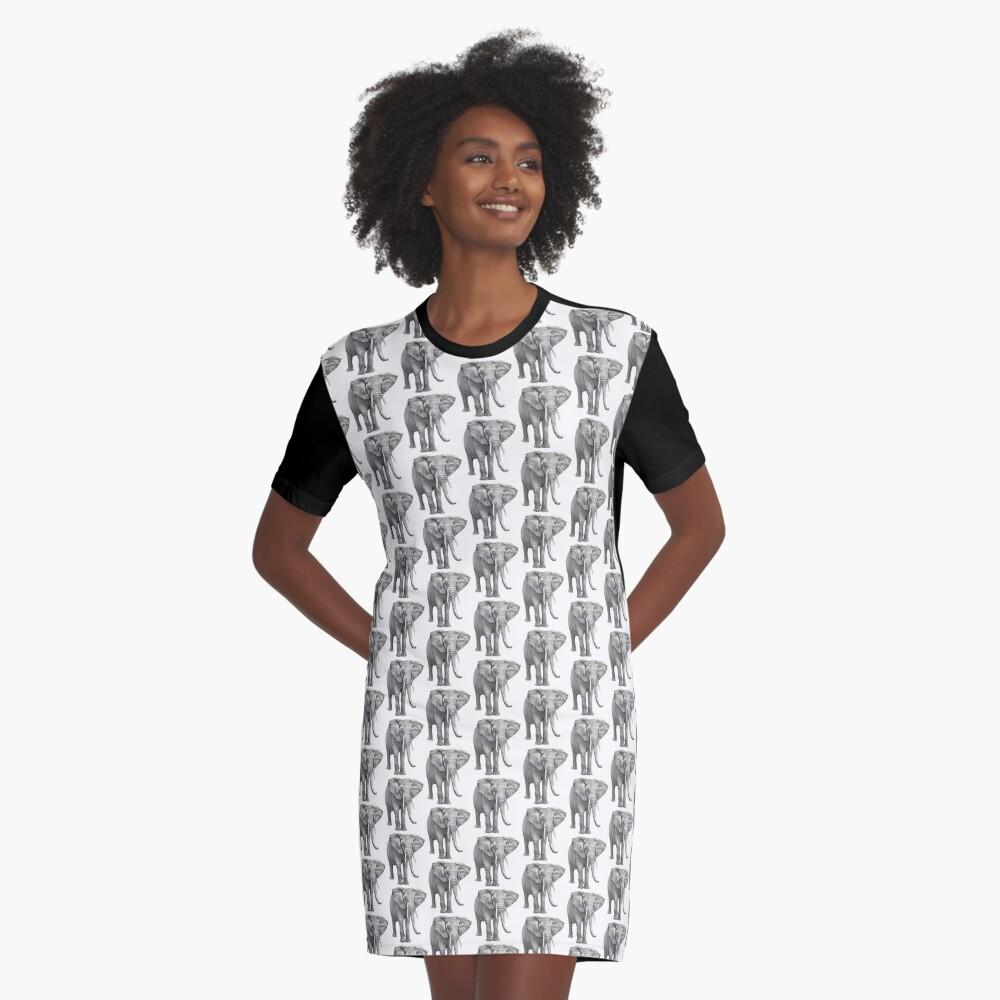 Large Elephant Graphic T-Shirt Dress