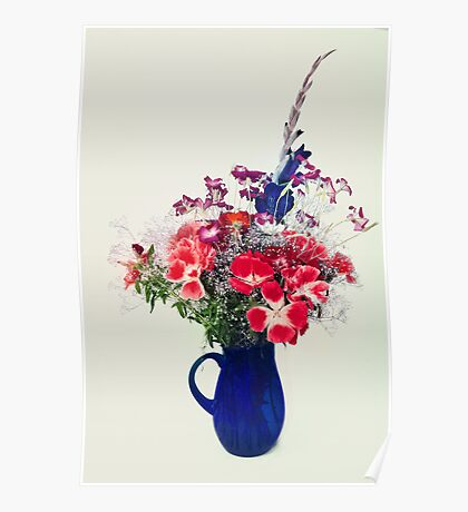 flowers in blue vase Poster