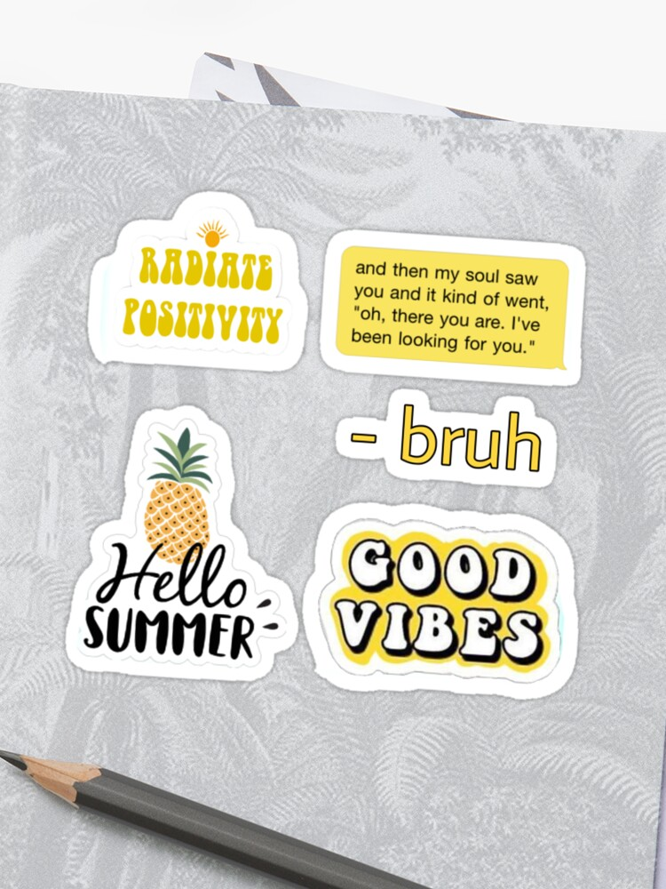 picture relating to Aesthetic Stickers Printable known as Yellow Aesthetic Stickers Pack Canvas Print - Gonzagasports