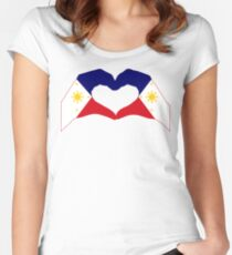 We Heart Philippines Patriot Series (Two Flags) Fitted Scoop T-Shirt