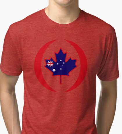 Australian Canadian Multinational Patriot Flag Series Tri-blend T-Shirt