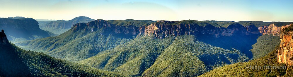 Stand In Awe  (45 Exposure HDR Panoramic) - Govetts Leap, Blue Mountains World Heritage Area - The HDR Experience by Philip Johnson