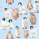 Penguin Baby Chicks Little Blue Emperor Brown Birds Watercolor by wanderinglaur