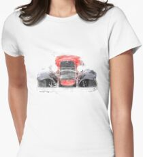 1932 Ford Roadster Red and Black Convertible Womens Fitted T-Shirt