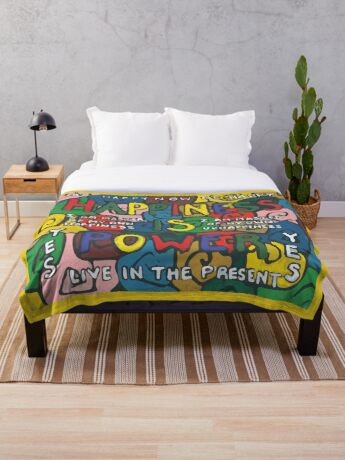 Happiness is Power - Be Happy Now - Live in the Present - Yes Throw Blanket