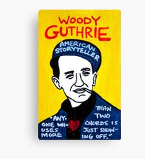 Woody Guthrie Folk Art Canvas Print