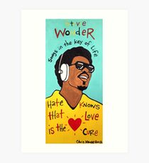 Stevie Wonder Pop Folk  Art Art Print