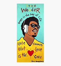 Stevie Wonder Pop Folk  Art Photographic Print