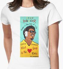 Stevie Wonder Pop Folk  Art Women's Fitted T-Shirt