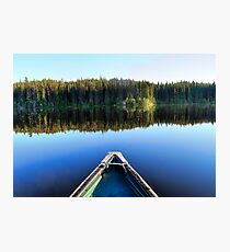 Canoeing on Lonely Lake Photographic Print