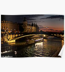 Seine at Night Poster