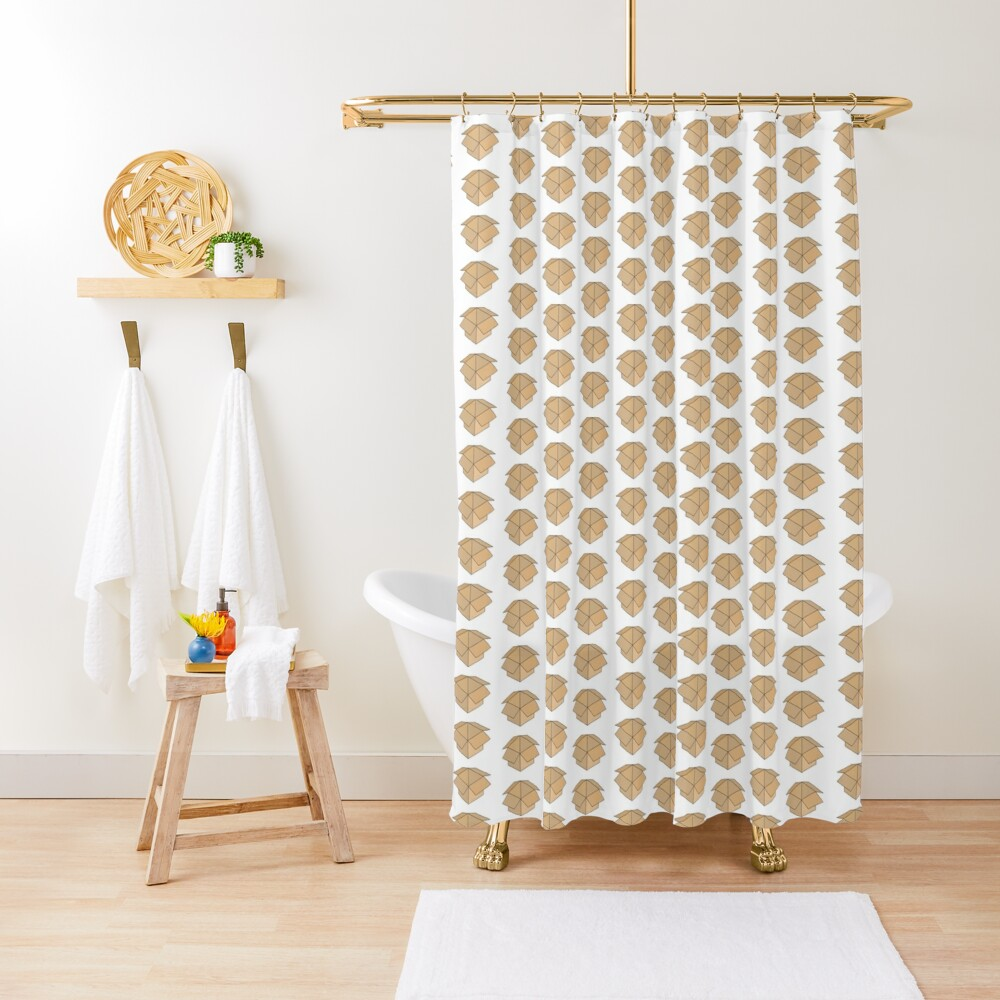 Open Box Line Drawing Shower Curtain