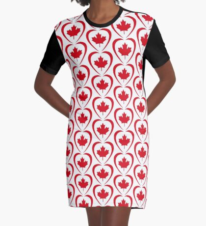 Canadian Patriot Flag Series (Heart) Graphic T-Shirt Dress