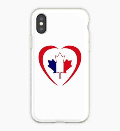 French Canadian Multinational Patriot Flag Series (Heart) iPhone Case
