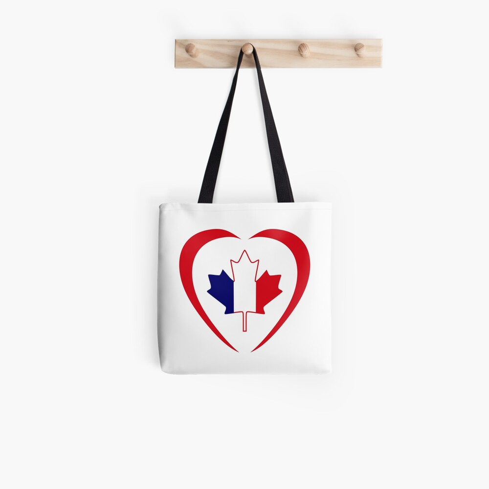 French Canadian Multinational Patriot Flag Series (Heart) Tote Bag
