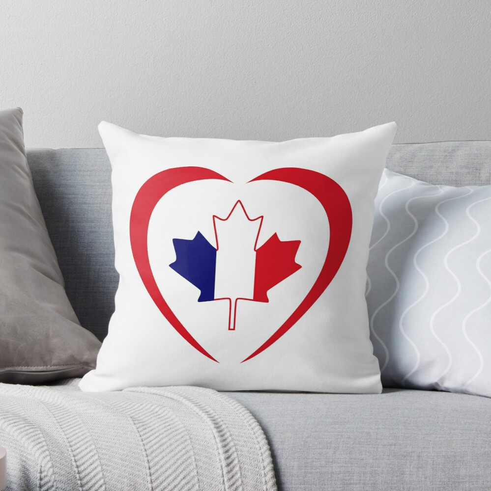 French Canadian Multinational Patriot Flag Series (Heart) Throw Pillow
