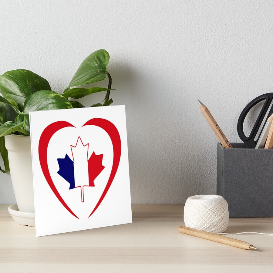 French Canadian Multinational Patriot Flag Series (Heart) Art Board Print