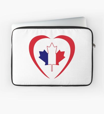 French Canadian Multinational Patriot Flag Series (Heart) Laptop Sleeve