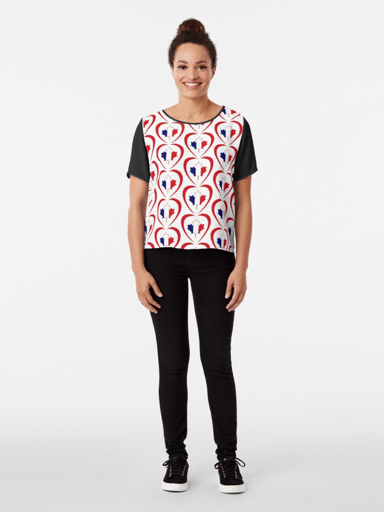 Alternate view of French Canadian Multinational Patriot Flag Series (Heart) Chiffon Top