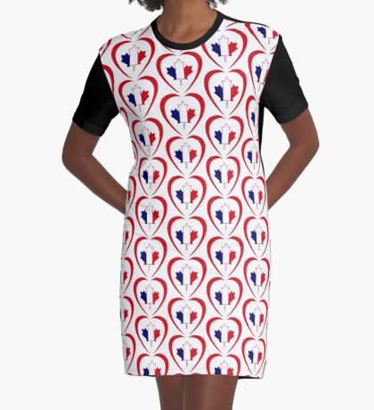French Canadian Multinational Patriot Flag Series (Heart) Graphic T-Shirt Dress