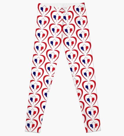 French Canadian Multinational Patriot Flag Series (Heart) Leggings
