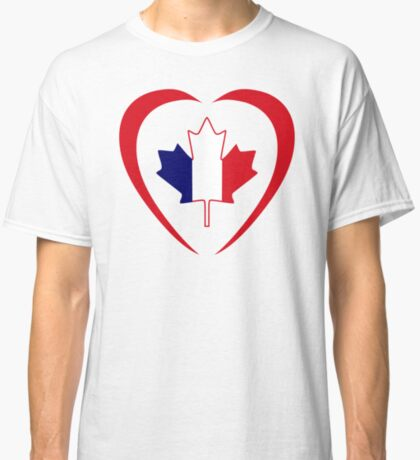 French Canadian Multinational Patriot Flag Series (Heart) Classic T-Shirt