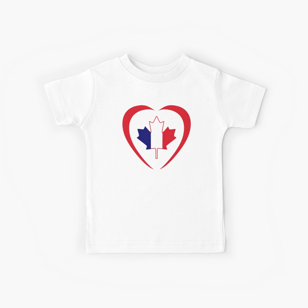 French Canadian Multinational Patriot Flag Series (Heart) Kids T-Shirt