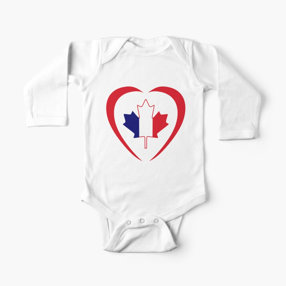 French Canadian Multinational Patriot Flag Series (Heart) Baby One-Piece
