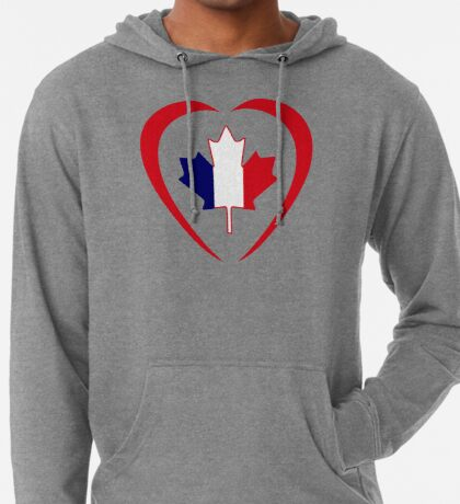French Canadian Multinational Patriot Flag Series (Heart) Lightweight Hoodie