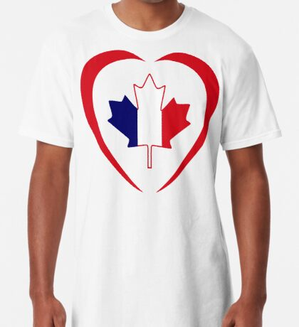 French Canadian Multinational Patriot Flag Series (Heart) Long T-Shirt