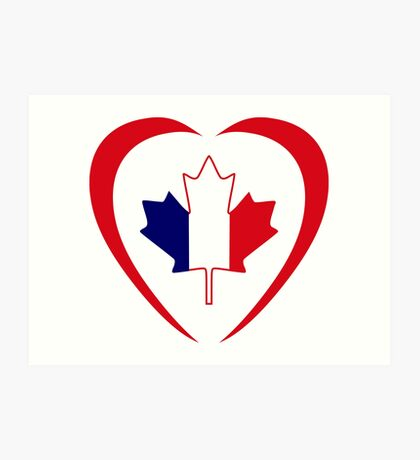 French Canadian Multinational Patriot Flag Series (Heart) Art Print