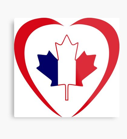French Canadian Multinational Patriot Flag Series (Heart) Metal Print