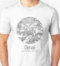 Denali | Topographic Map Design (Minimalist) Slim Fit T-Shirt