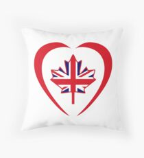 British Canadian Multinational Patriot Flag Series (Heart) Throw Pillow