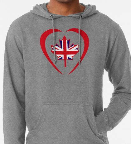 British Canadian Multinational Patriot Flag Series (Heart) Lightweight Hoodie