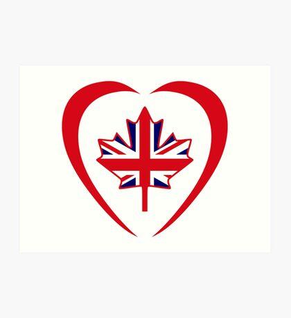 British Canadian Multinational Patriot Flag Series (Heart) Art Print