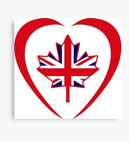 British Canadian Multinational Patriot Flag Series (Heart) Canvas Print
