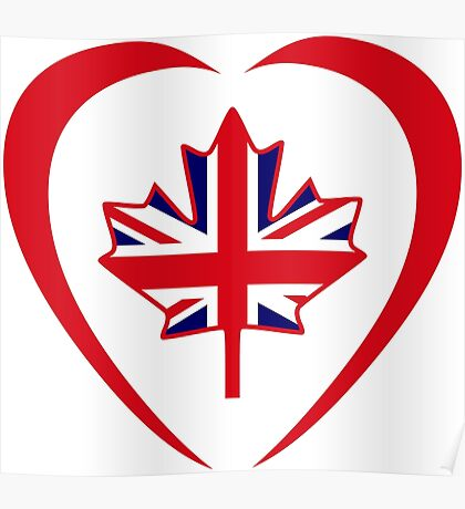 British Canadian Multinational Patriot Flag Series (Heart) Poster