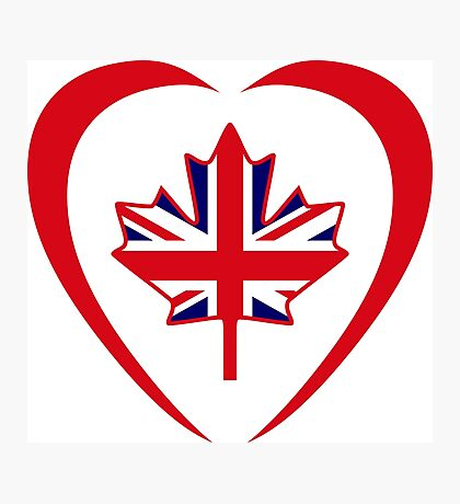 British Canadian Multinational Patriot Flag Series (Heart) Photographic Print