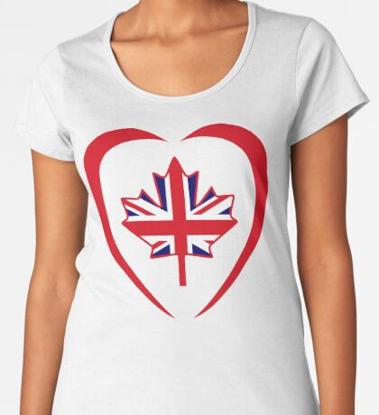 British Canadian Multinational Patriot Flag Series (Heart) Premium Scoop T-Shirt