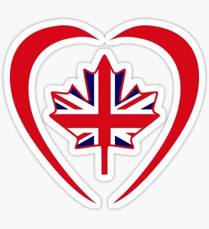 British Canadian Multinational Patriot Flag Series (Heart) Sticker