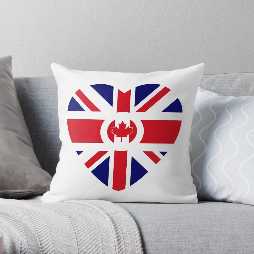 British Canadian Multinational Patriot Flag Series Throw Pillow