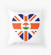 British Indian Multinational Patriot Flag Series (Heart) Throw Pillow