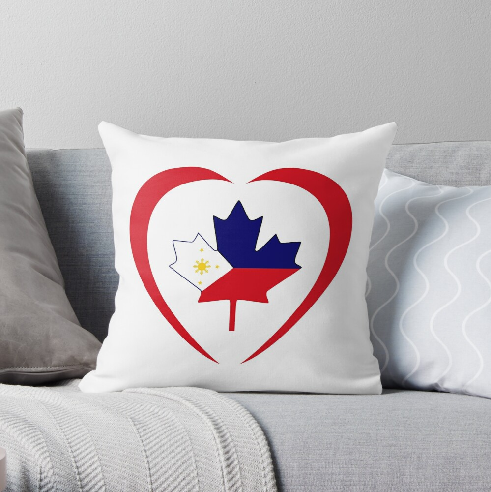 Filipino Canadian Multinational Patriot Flag Series (Heart) Throw Pillow