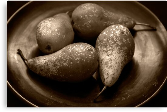 pears in a lacquered bowl by David Milnes