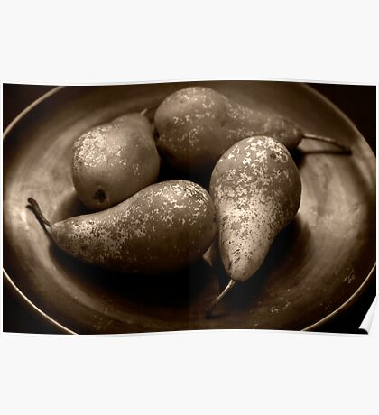 pears in a lacquered bowl Poster
