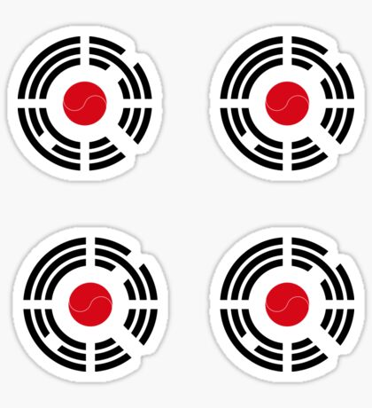 Korean Japanese Multinational Patriot Flag Series Glossy Sticker