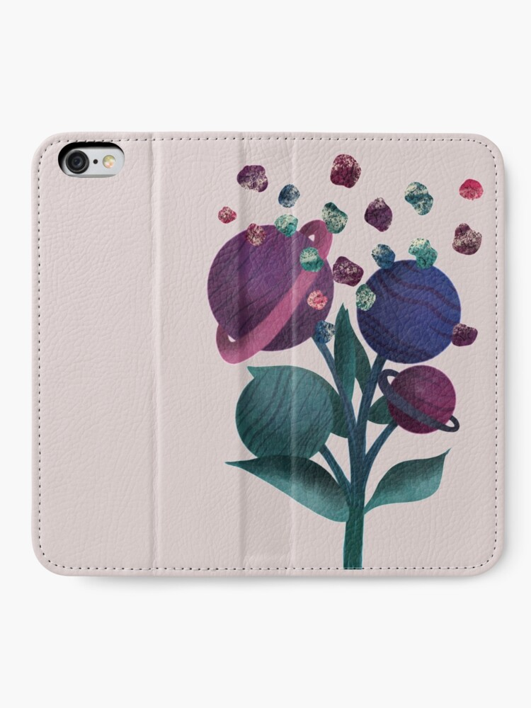 Alternate view of Space Flowers iPhone Wallet