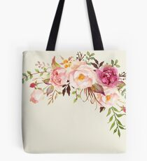 Romantic Watercolor Flower Bouquet Tote Bag